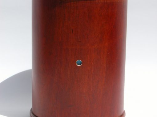 #1050 Cylindrical, Wooden Liquor Box w/Sliding Door