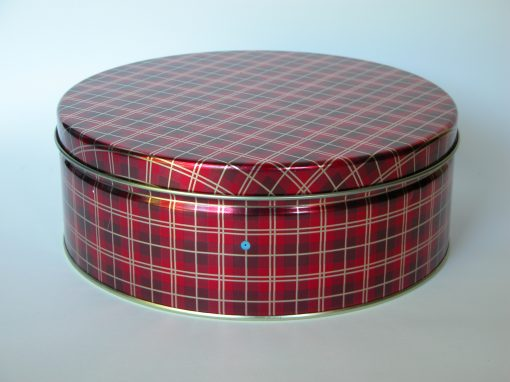 "#804 Red Plaid, 10"" Christmas Tin"