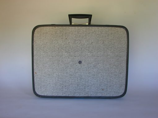 #143 Black & White Patterned Monarch Suitcase / Days Inn Motel, Santa Rosa, NM