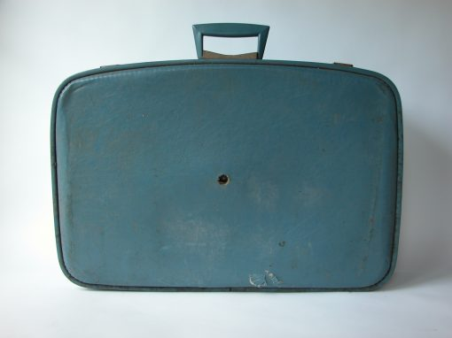 #120 Soft, Blue Suitcase w/V Shaped Blue & Chrome Handle / Go Go Corner & Hotel Potter, SF