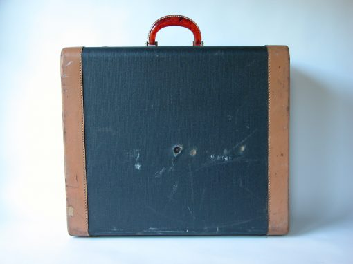 #117 Blue Fabric Suitcase with Red Transparent Handle / The Hotsy Totsy Club, Albany, CA