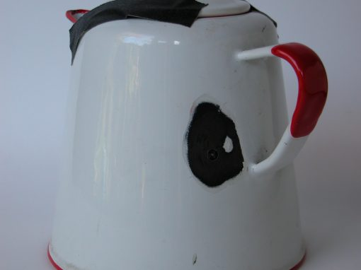 #676 White & Red Metal Enameled Coffee Pot