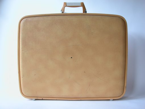 #123 Yellow-Orange Suitcase w/Plastic Handle / PS 122