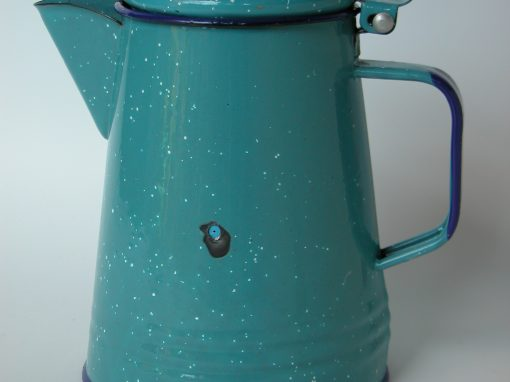 #678 Blue Metal Enameled Coffee Pot w/White Speckles