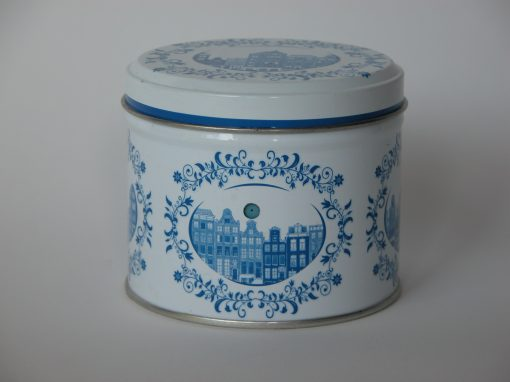 #597 Caramel Wafers (blue & white tin w/buildings)