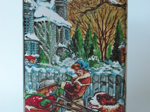 #514 Winter Scene w/St. Bernard Pulling Wagon