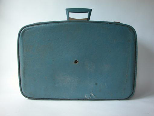 #119 Soft, Blue Suitcase w/V Shaped Blue & Chrome Handle / Motel, Albany, CA