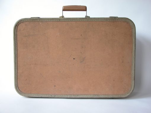 #120 Brown Suitcase w/Tan Trim & Thick Wooden Handle / YMCA #2