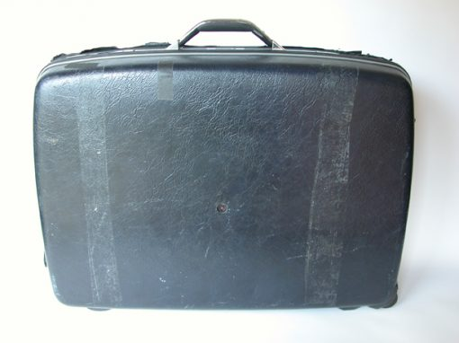 #530 Black Plastic Typewriter Case / Inside Synanon Warehouse