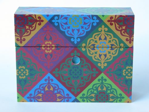 "#954 4"" x 5"" File Box with Multi Colored Designs"