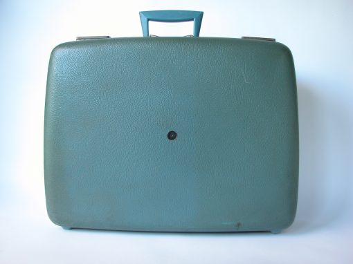 #110 Blue Airliner Suitcase w/V Shaped Handle / Welcome to New York State