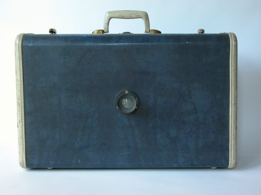 #106 Blue Marbled Samsonite w/Brass Lens / Casa Grande Motel, Hwy 66, St Louis, MO