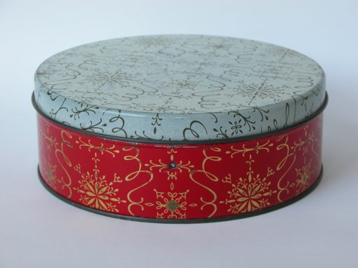 "#515 Round, 7"" Red & White Christmas Tin"