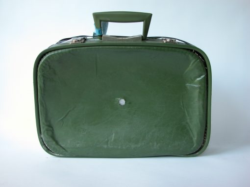 #126 Soft Green Suitcase w/Caved-In Front / Green Hotel