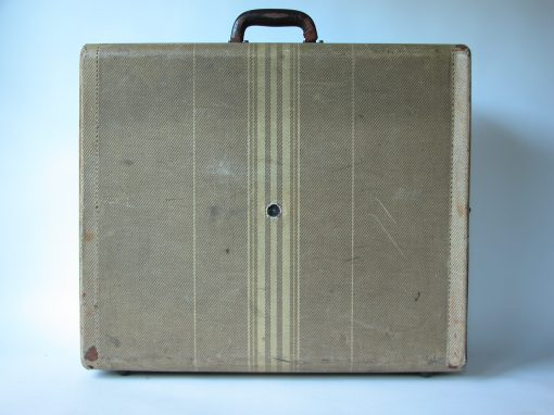 #116 Tan Fabric Suitcase w/Deco Pattern / Palomino Motel, McLean, TX