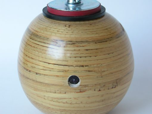"#496 Wooden Sphere (bamboo w/2"" plug) / Monument"