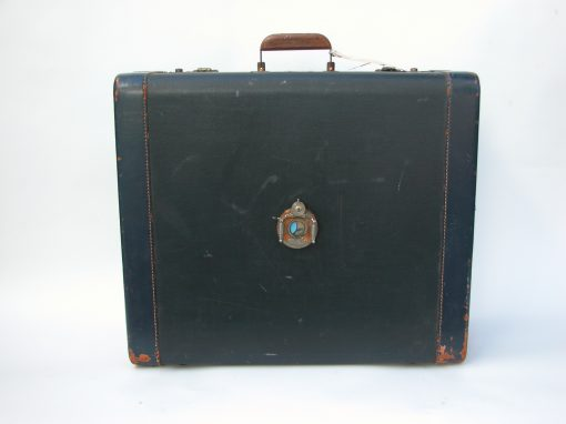 #144 Large, Blue Suitcase w/Wooden Handle & Mechanical Shutter / Hotel Adler, SF, CA