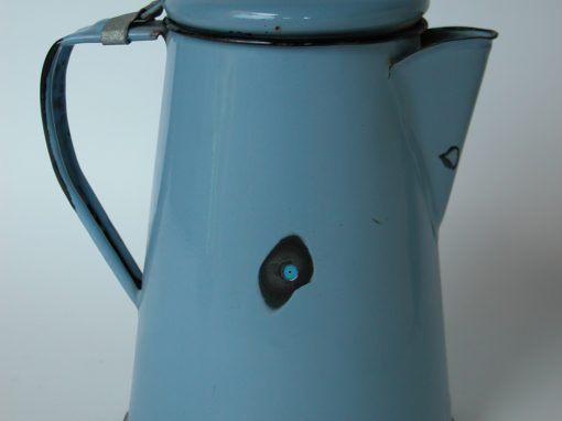 #677 Light Blue Metal Enameled Coffee Pot