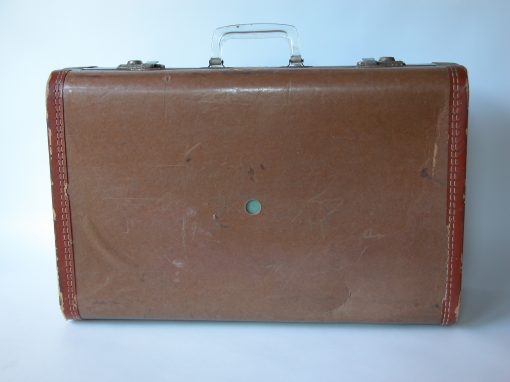 #108 Light Brown Suitcase w/Clear Plastic Handle / Branca's Rooms for Rent, Rochester, NY